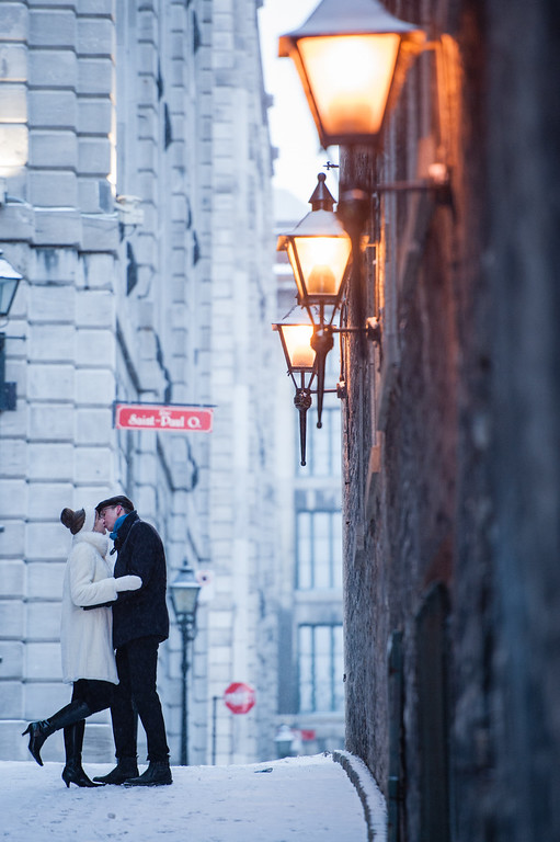 Wedding portraits in Old Montreal with lanterns
